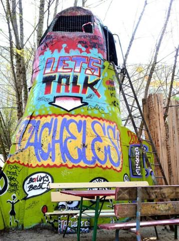 """Casa okupa en Tacheles, uno de los barrios """"underground"""". Foto: © Nicolas"""