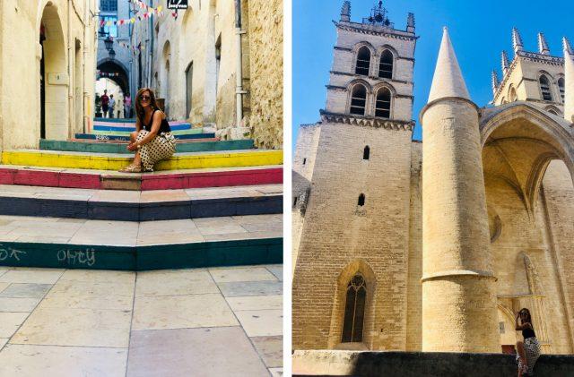 Calle y Catedral de San Pedro, Montpellier, Francia