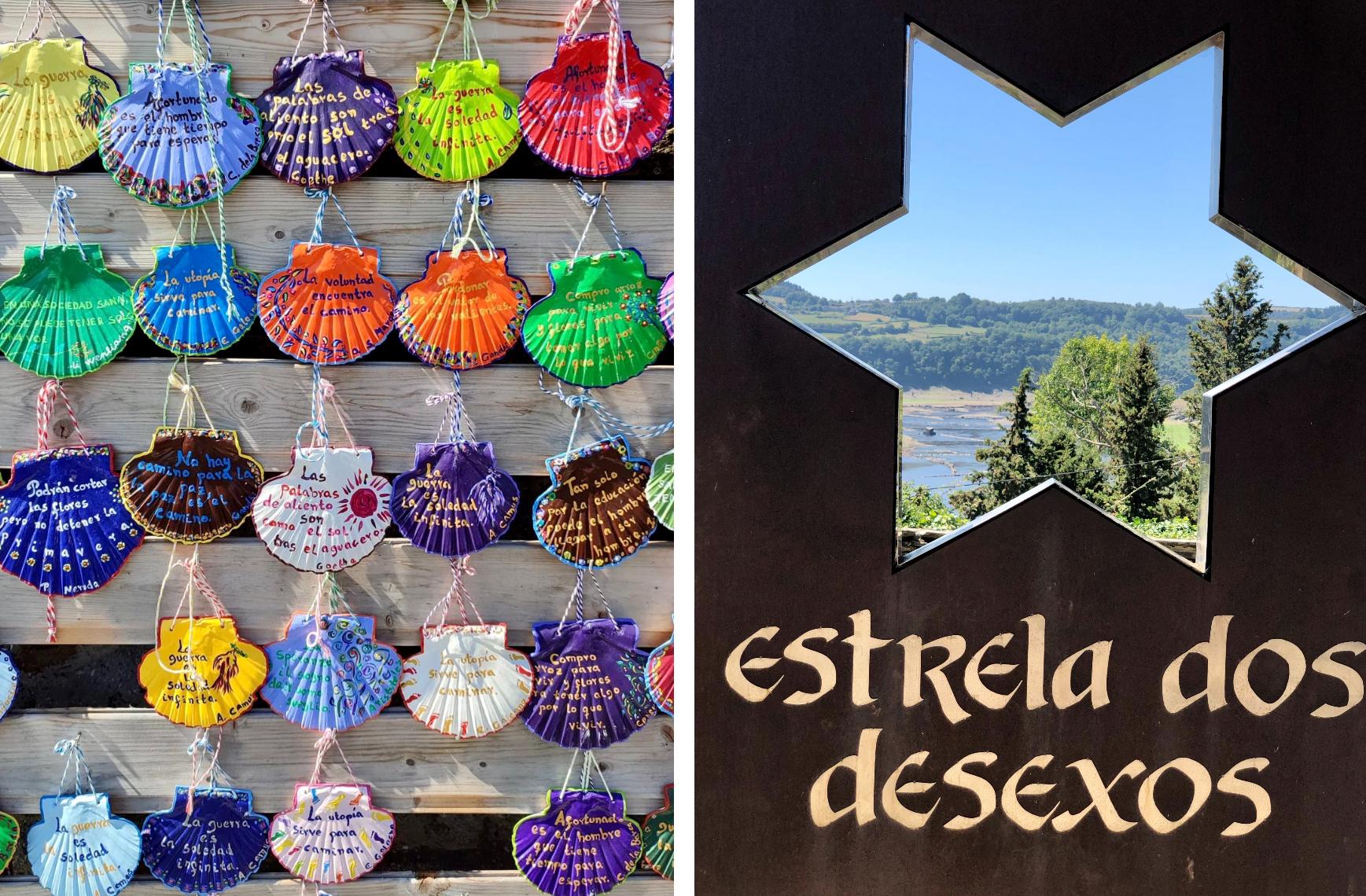 Conchas del peregrino y Estrella de los deseos en Portimarín