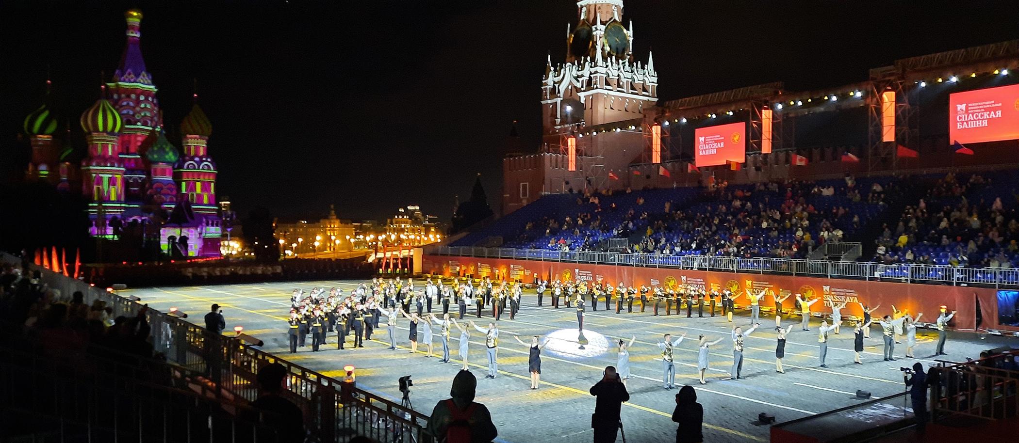 Charlestón en Festival Spasskaya de Moscú de música militar en la Plaza Roja