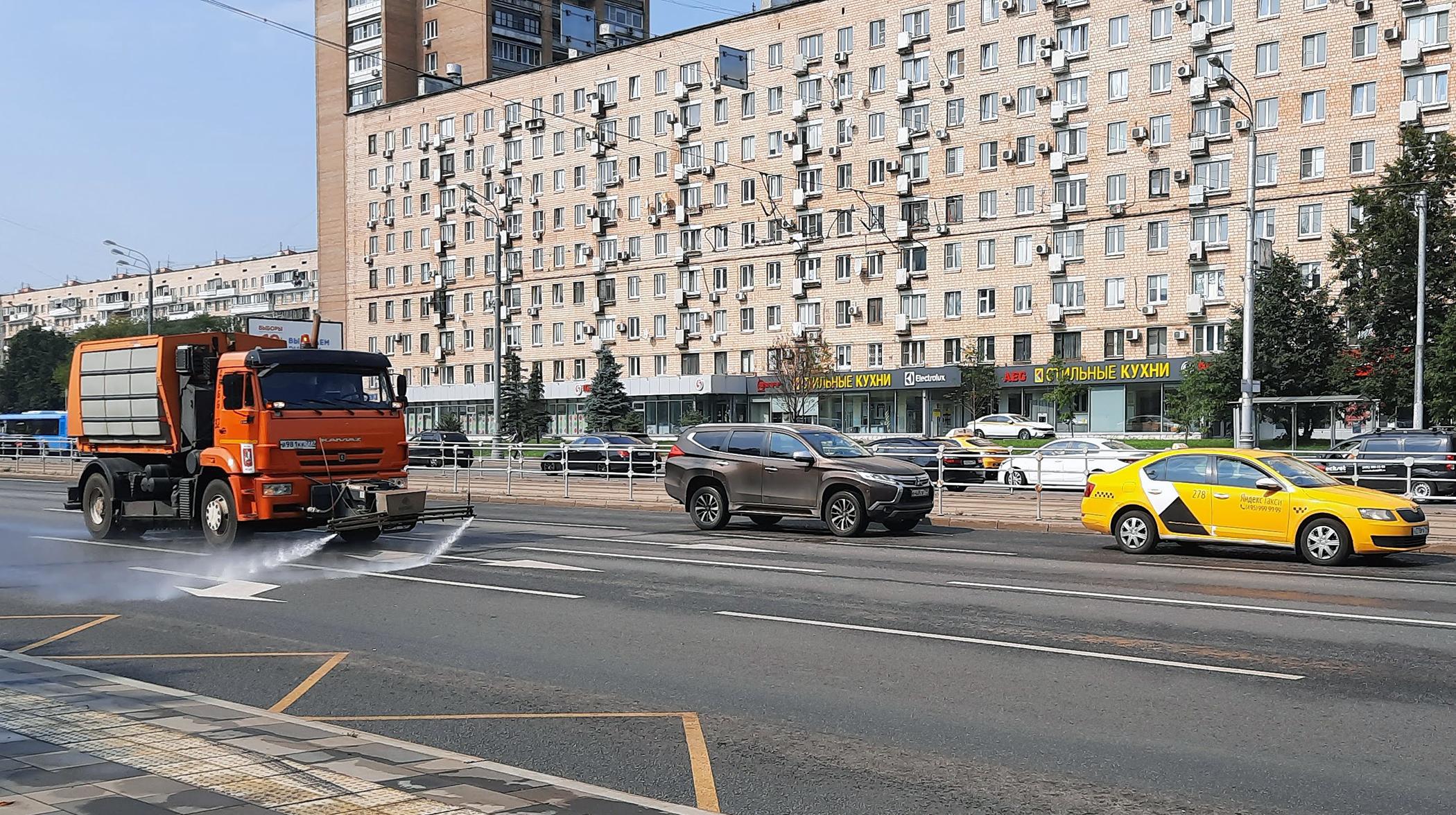 Camión de limpieza en Moscú